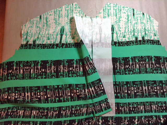 green stripe placket sewing