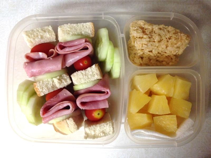 Sandwich on a stick, rice krispies, & pineapple