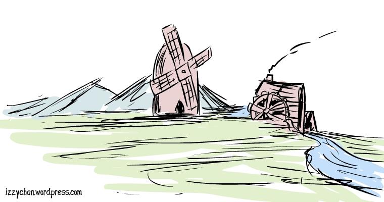 windmill, watermill