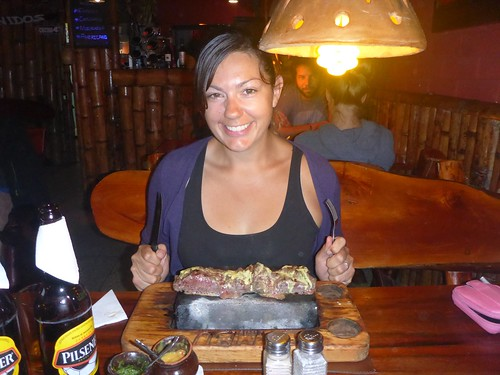 Dee with her steak