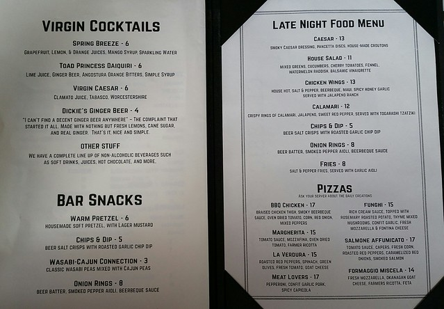 2016-Aug-30 Steel Toad - bar snacks menu