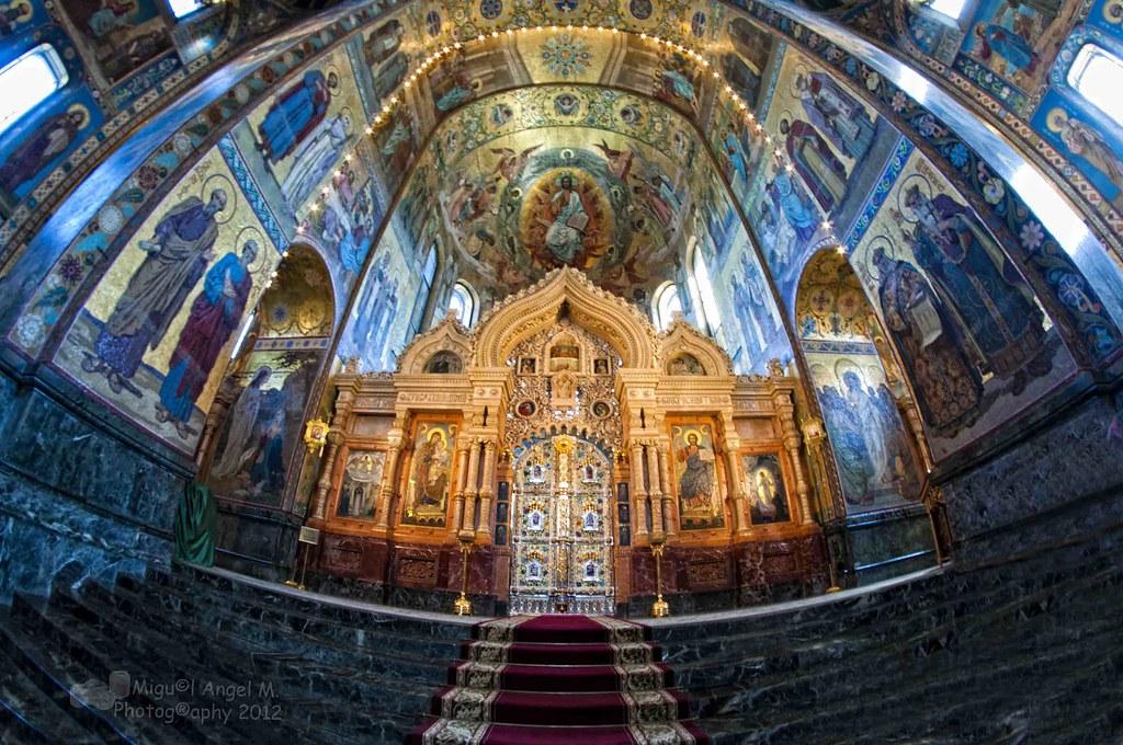 Interior del templo Iglesia del Salvador sobre la sangre derramada- San Petersburgo-Rusia
