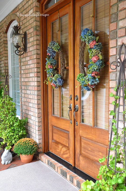 Fall Porch 2016 - Dried Hydrangea Wreath - Housepitality Designs