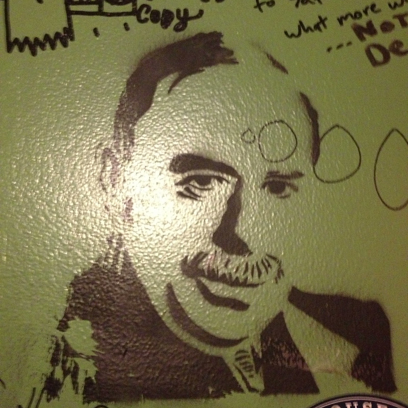 Oh, just making bathroom graffiti with my John Maynard Keynes stencil.