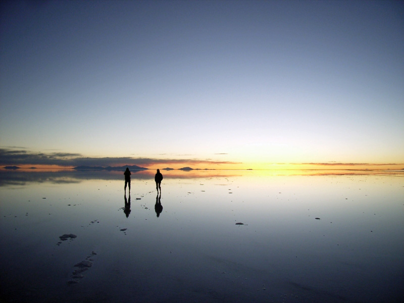Sunset at Uyuni lake