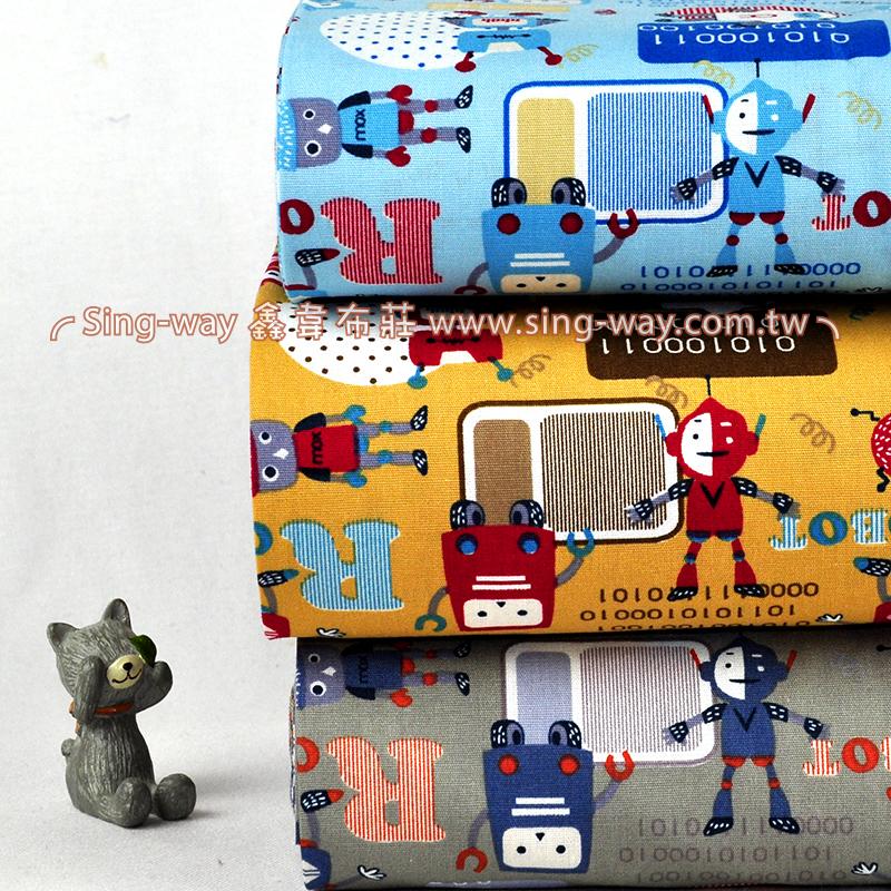 原-2進位ROBOT  童趣 男孩機器人  手工藝DIy拼布布料 CA450624