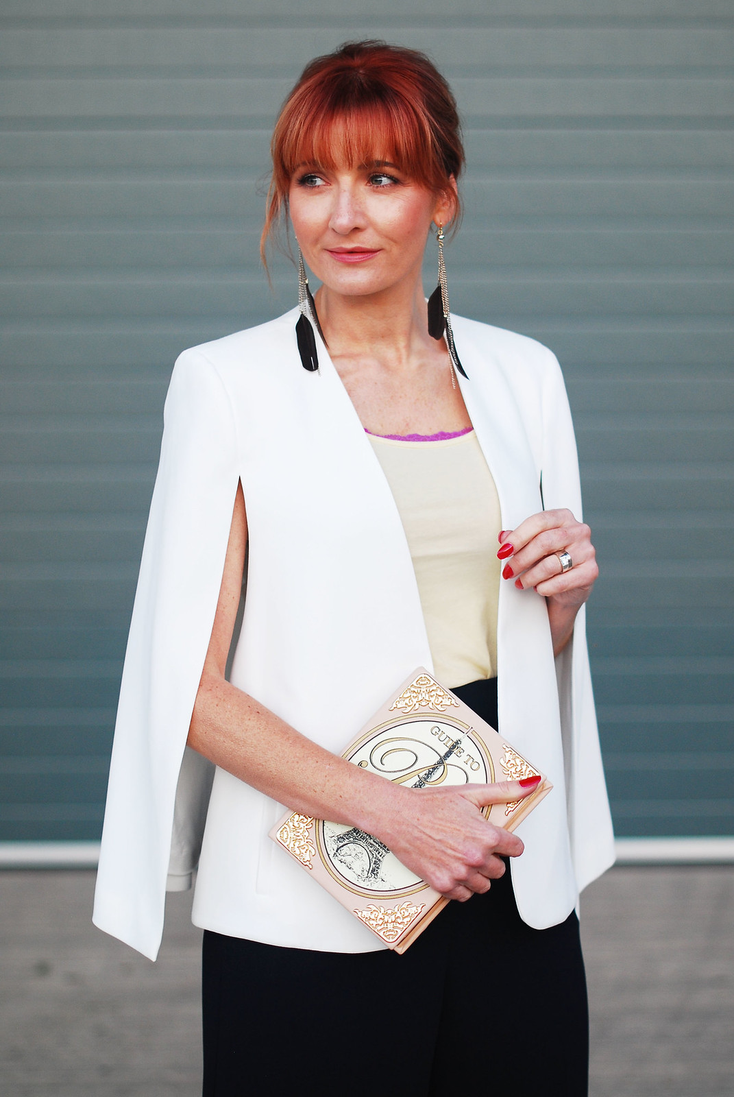 Awards ceremony outfit: White cape, navy culottes, Paris book clutch | Not Dressed As Lamb, over 40 style