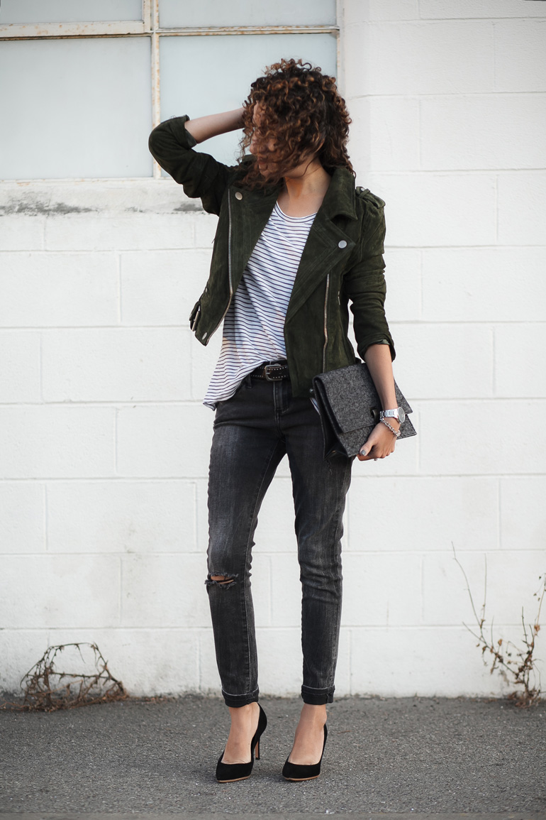 Edgy Olive – Petite-Friendly Moto Jacket