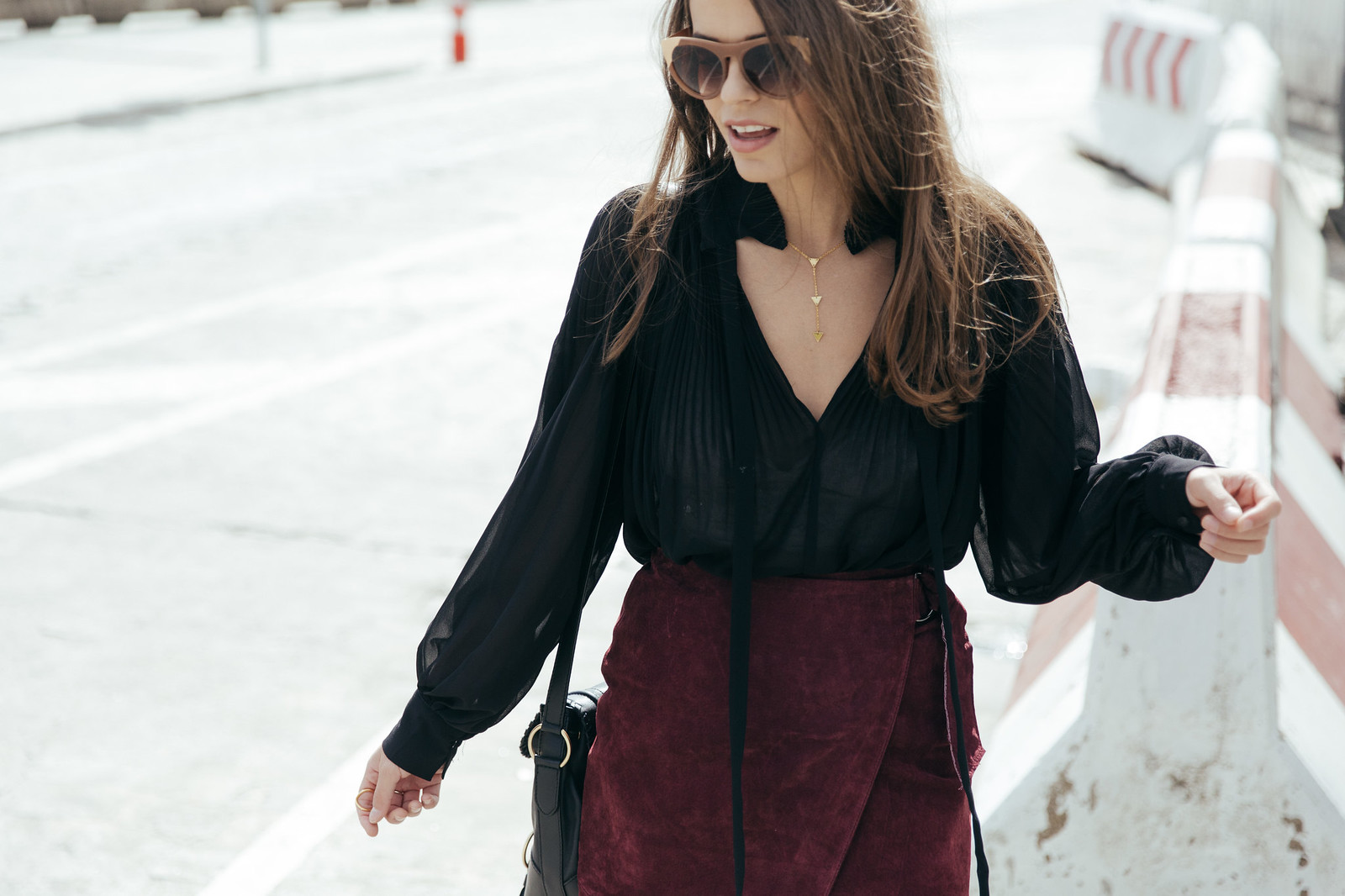 Jessie Chanes Seams for a desire - Burgundy Midi Skirt -11
