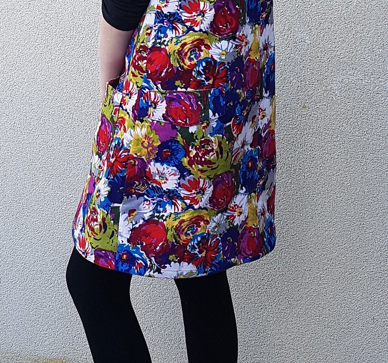 Modkid Cassidy dungaree dress in printed corduroy remnant from The Cloth Shop
