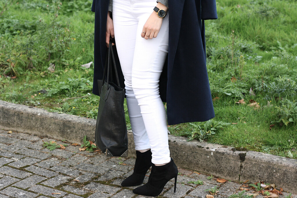 Topshop white jeans with Zara black ankle boots and Larsson & Jennings black Saxon watch