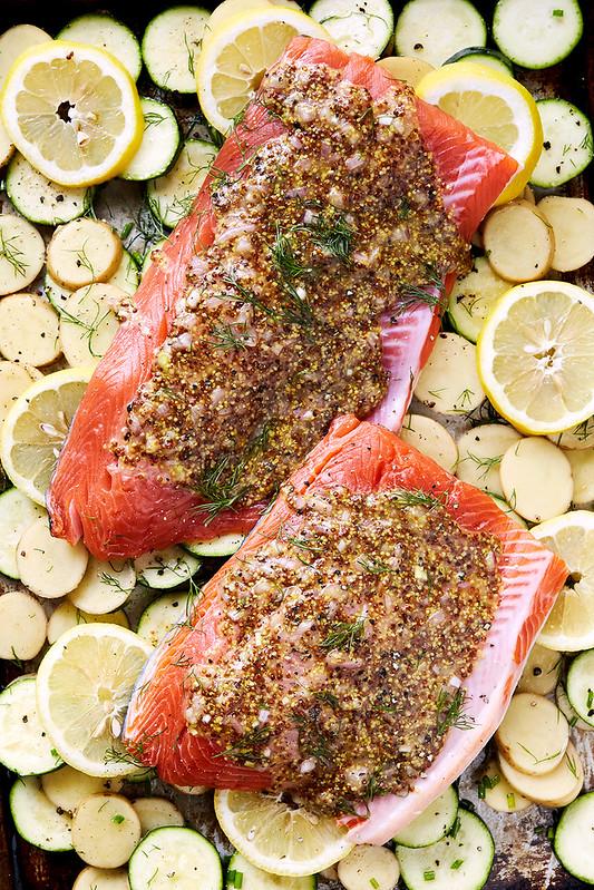 One Pan Mustard Roasted Salmon and Veggies