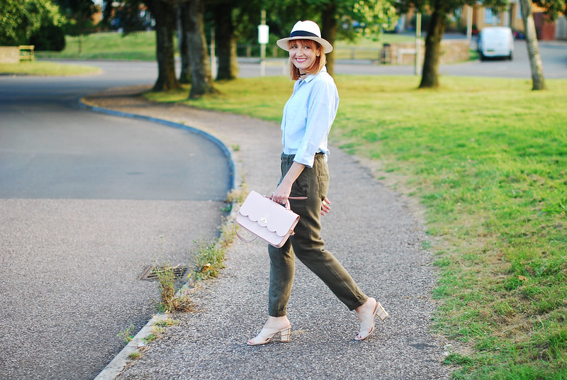 Styling summer neutrals: Blue chambray shirt, khaki pants, crossover mules, Panama hat, Cambridge Satchel Co cloud bag | Not Dressed As Lamb