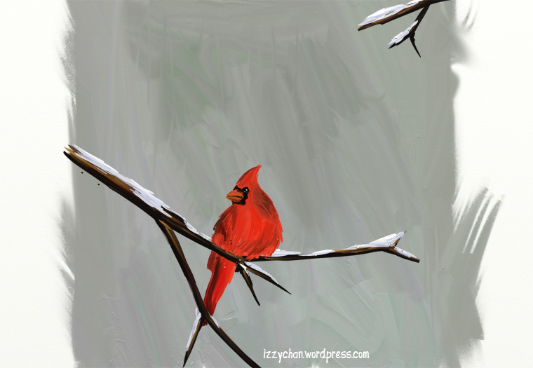 red bird snow artrage
