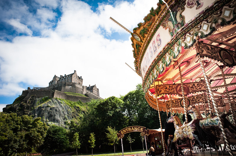 Edinburgh with kids where they can ride the carousel at Edinburgh Castle