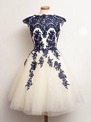 Gorgeous A-line High-neck Sash Chiffon Homecoming Dress
