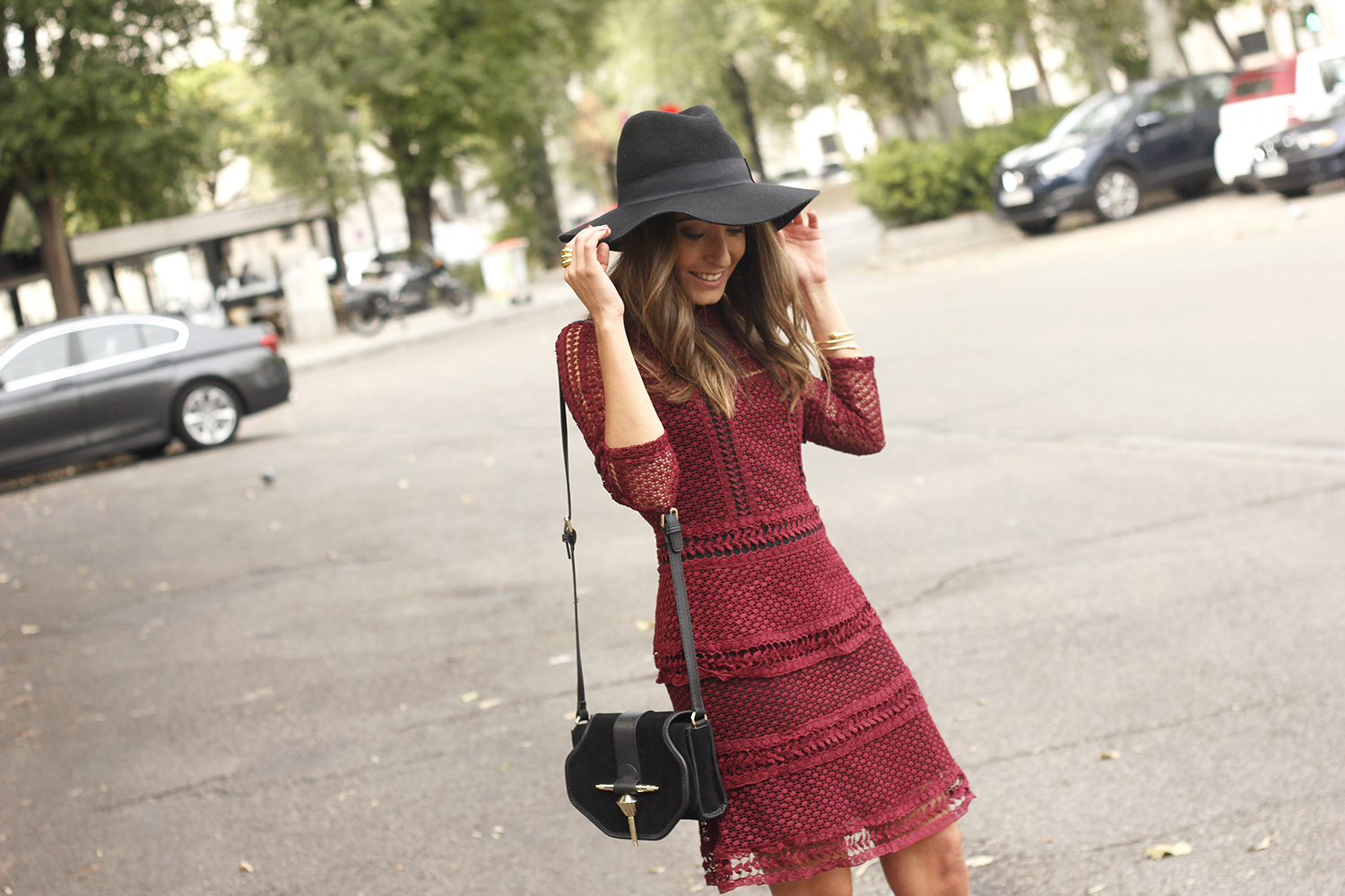 burgundy lace dress black heels hat accessories outfit fashion style16