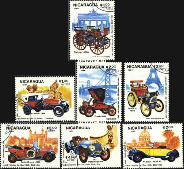Známky Nicaragua 1984 Veterány Gotlieb Daimler, razÃ-tkovaná séria