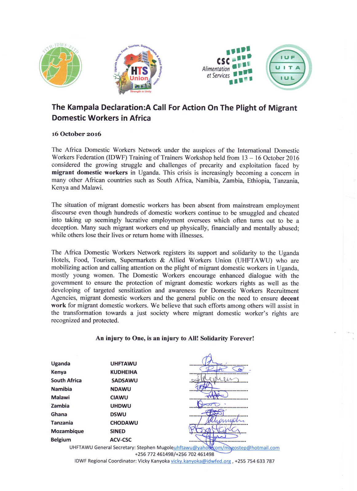 2016-10-13~16 Uganda: The Kampala Declaration - A Call For Action On The Plight of Migrant Domestic Workers in Africa
