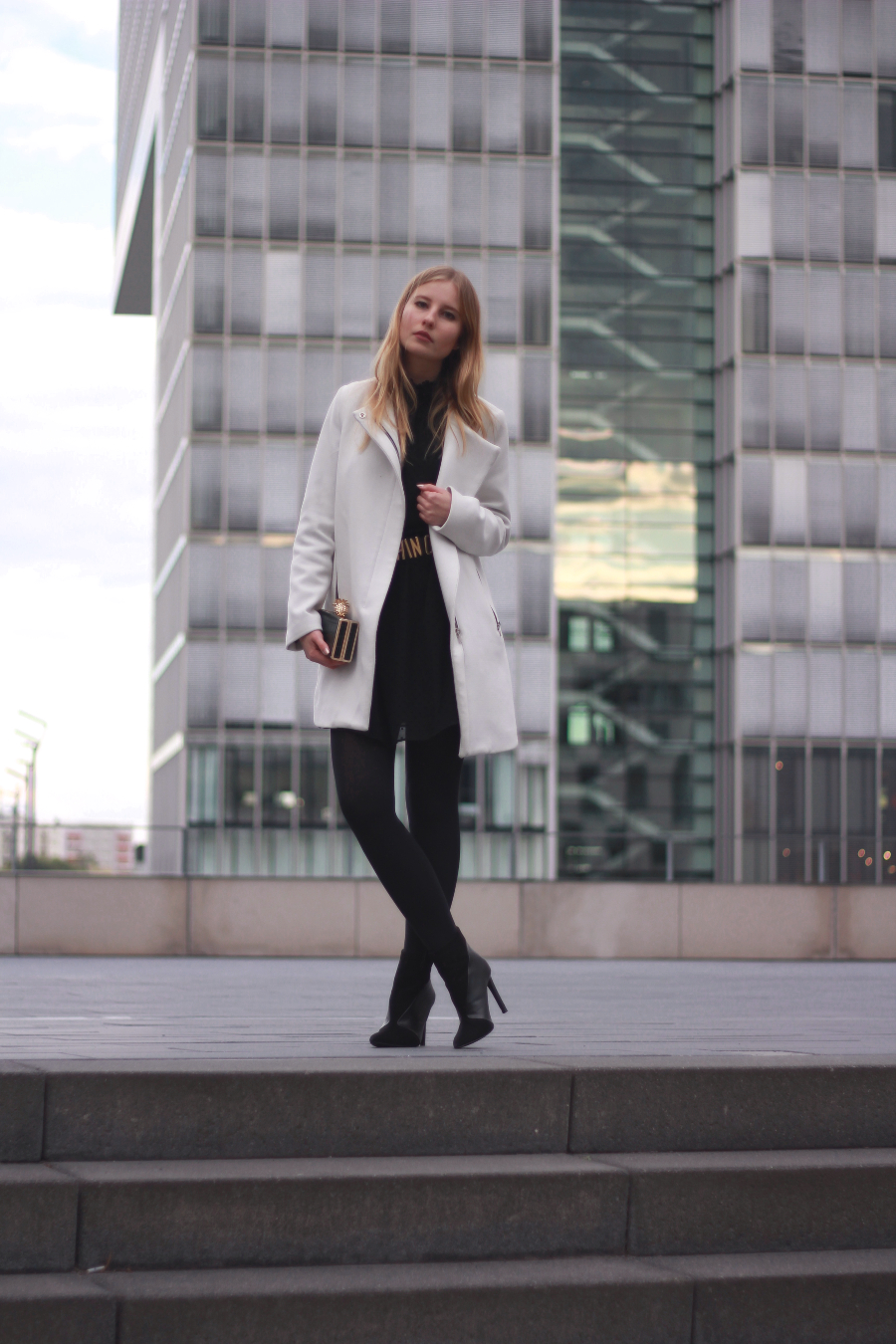 outfit blog black white german cologne dress coat tights boots heel blonde
