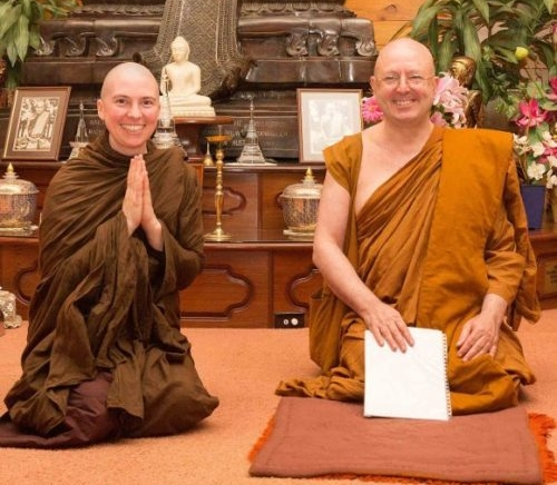 Venerable Candā with Ajahn Brahm following her Bhikkhunī ordination on April 27th 2014