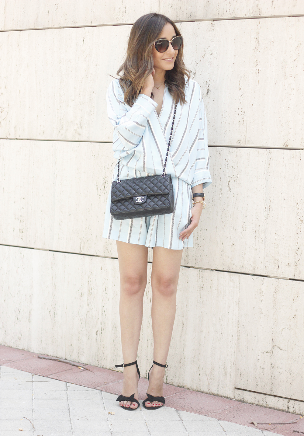Maje Jumpsuit with stripes black heels chanel bag summer outfit street style fashion07
