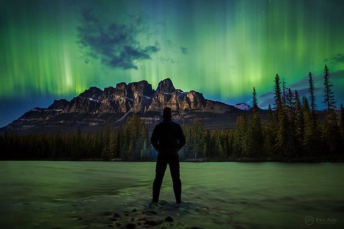 You know it's a good aurora display when everything starts glowing green all around you... Self-portrait, Castle Mountain. The PZ newsletter goes out tomorrow. I'll share a little behind-the-scenes information about the climbing images. You can sign up he