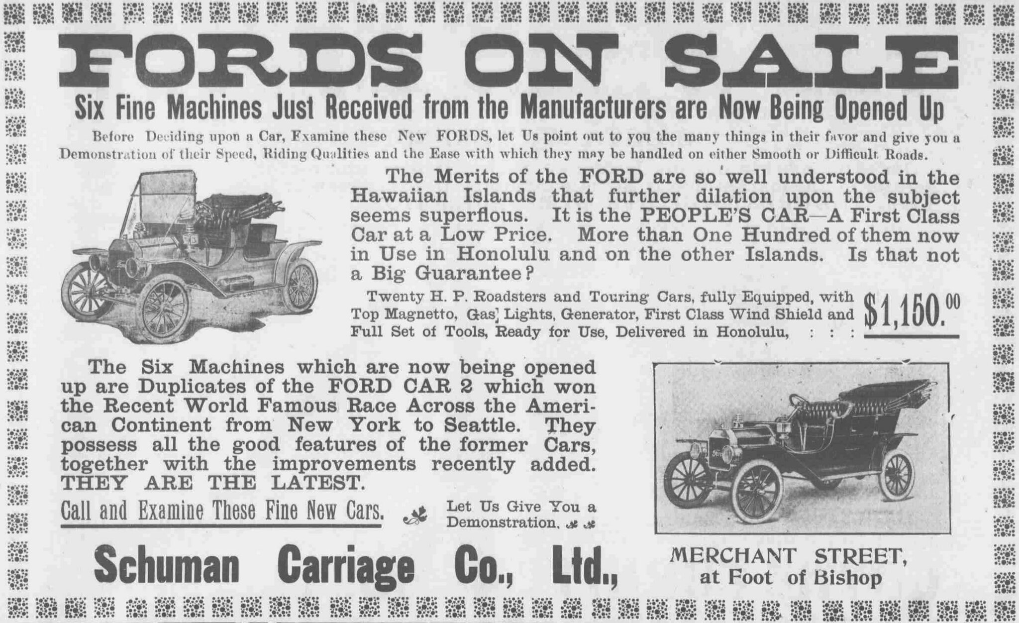 history of cars in hawaii