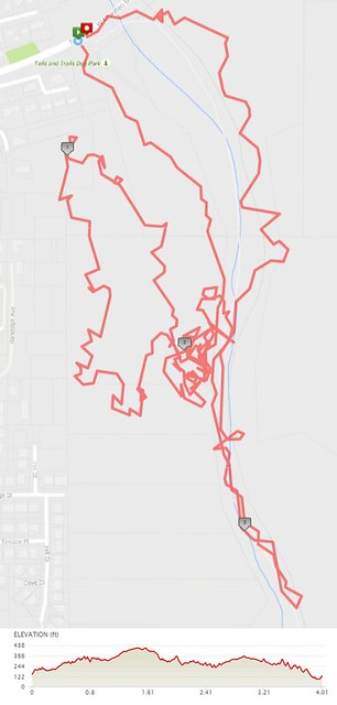 Today's awesome walk, 4 miles in 1:53, 10,867 steps, 419ft gain