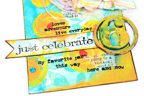 Meihsia Liu Simply paper Crafts Mixed Media Tag Celebrate Simon Says Stamp Monday Challenge 5