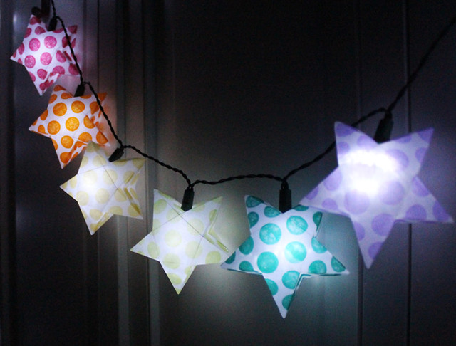 Rainbow Star Paper Lanterns Dark