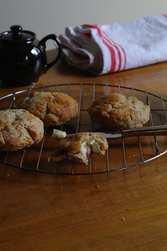 apricot cardamom spelt scone with butter