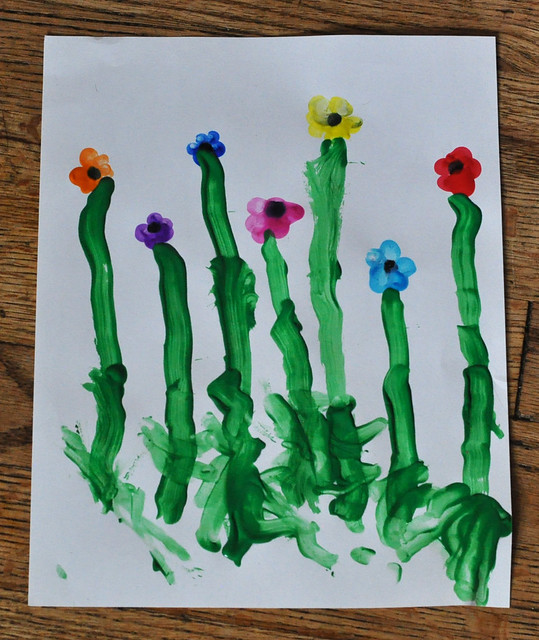 finger painting flowers craft