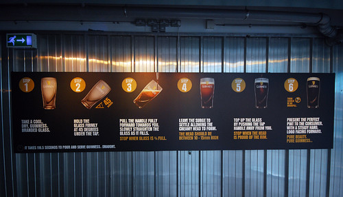 How to pour a Guinness beer in the Guinness Storehouse at St. James's Gate Brewery in Dublin, Ireland