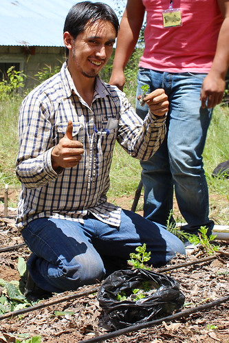 young man kneeling, smiles with a tiny seedling and a thumbs-up IMG_3405