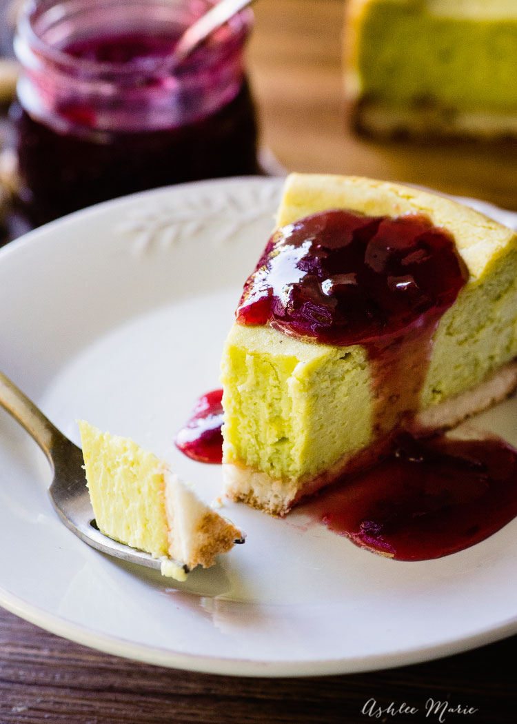 this pistachio cheesecake is creamy and full of flavor, serve with fresh cherry jelly or enjoy plain
