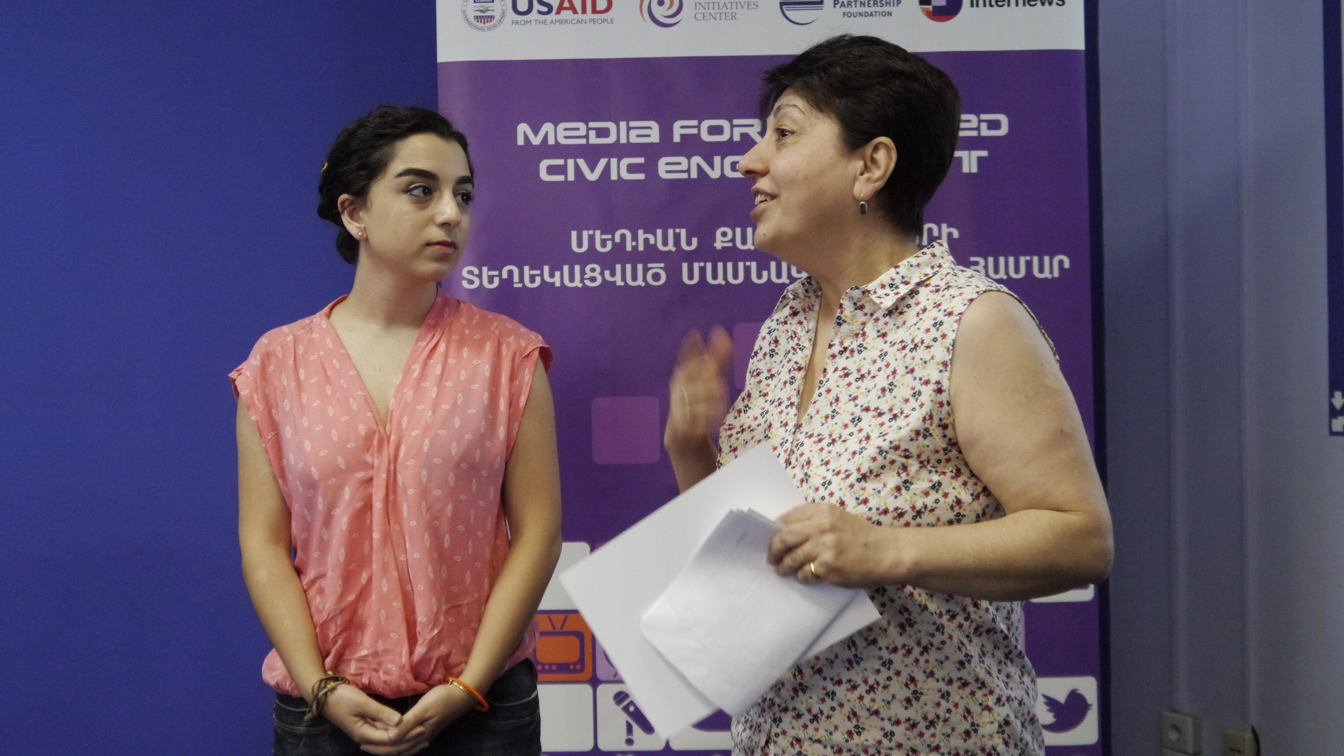 Kristine Soloyan and contest jury member Lilik Stepanyan
