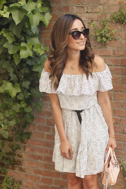 Polka dots dress coach bag black heel brosway jewellery summer outfit03