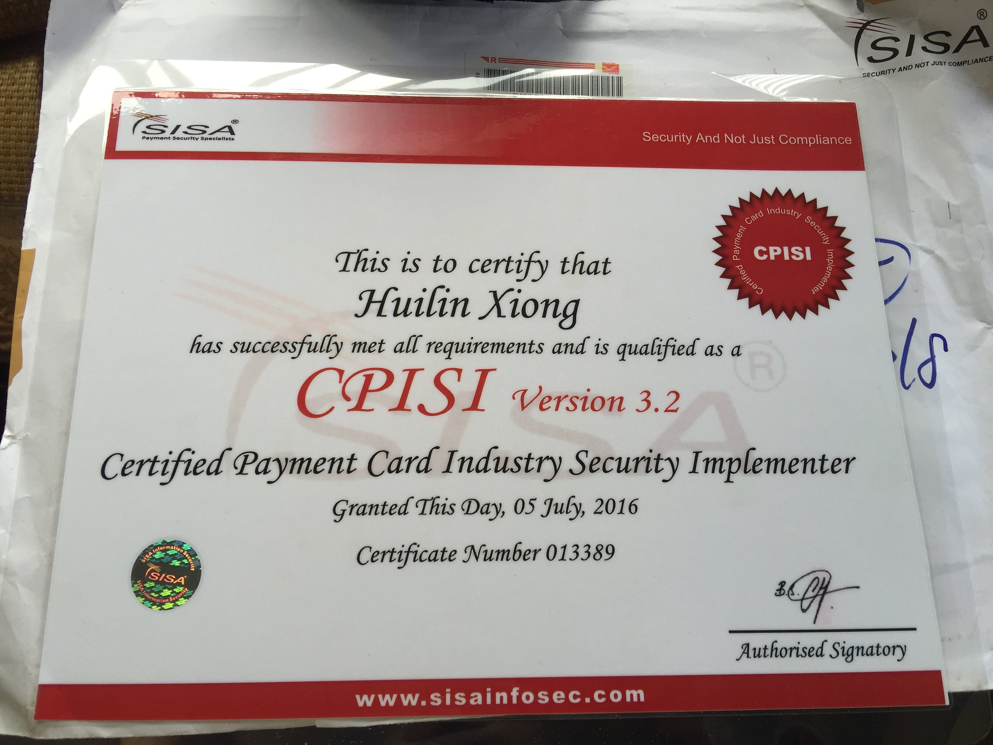 Cpisi Training And Certification Xiong Hui Lins Personal Page