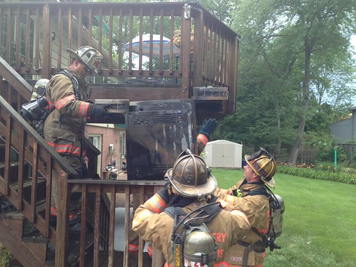 photos from scene of grill fire on deck
