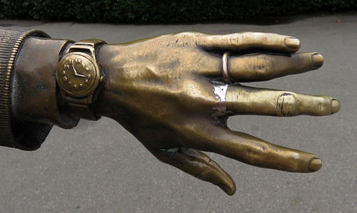 Bronze hand of a photographer at Queen Elizabeth Park in Vancouver, BC