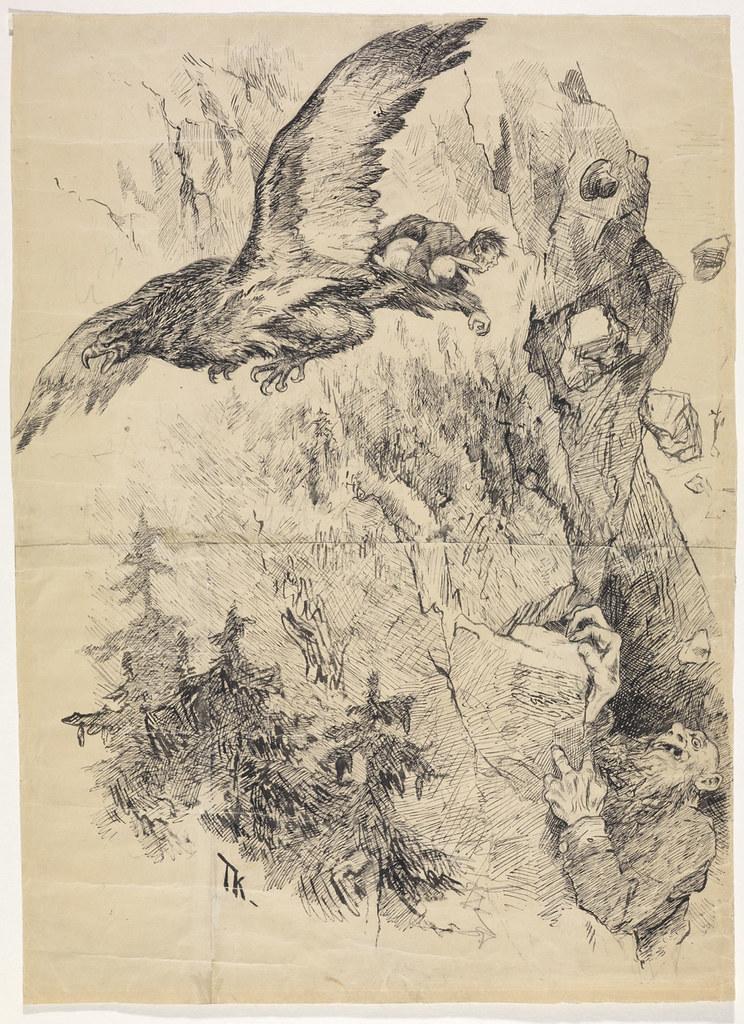 """Theodor Kittelsen - llustration for """" Bonde Veirskjæg """" in P. Chr. Asbjørnsen and J. Moe, Eventyrbog for Børn . Norwegian Folkeeventyr , Copenhagen 1887"""