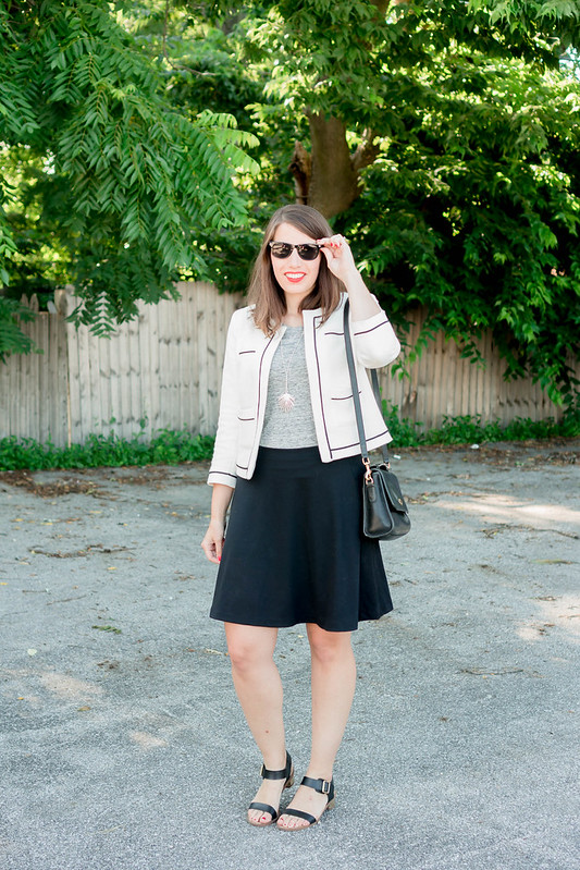 black skirt + gray merona tee + white Ann Taylor blazer; summer work outfit | Style On Target blog