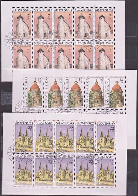 Známky Slovensko 2002, Kostoly - 3x razítkovaný blok