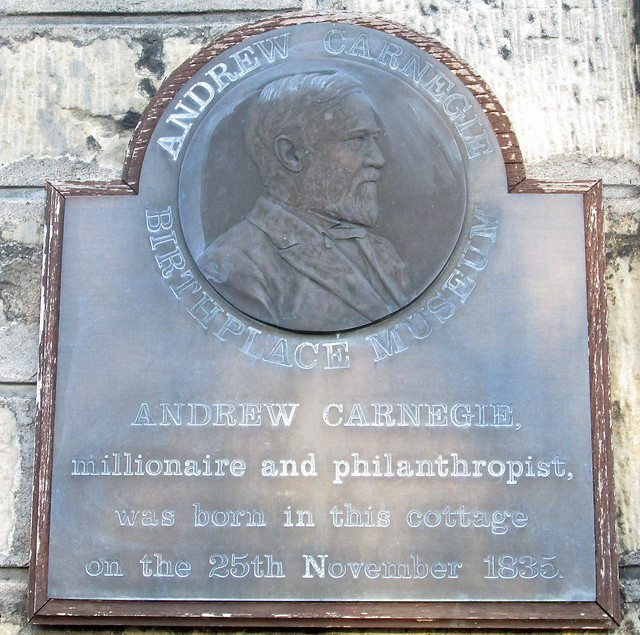 Plaque on Andrew Carnegie's Birthplace, Dunfermline