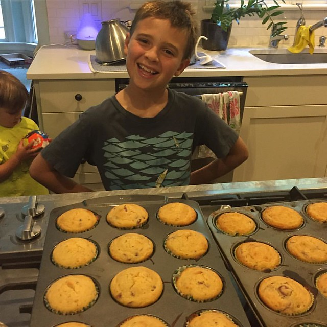 Since Nana and Pap are busy moving, we took over the Muffin Ministry duties for them this week. Jack loved making them for the men's shelter so much we are going to sign up to do it all the time #jackb