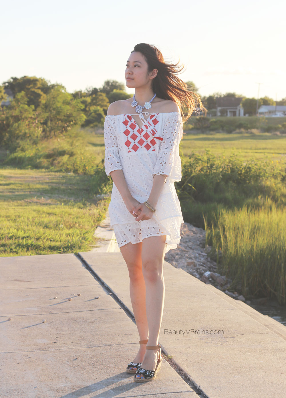 Shein embroidered off the shoulder white eyelet dress