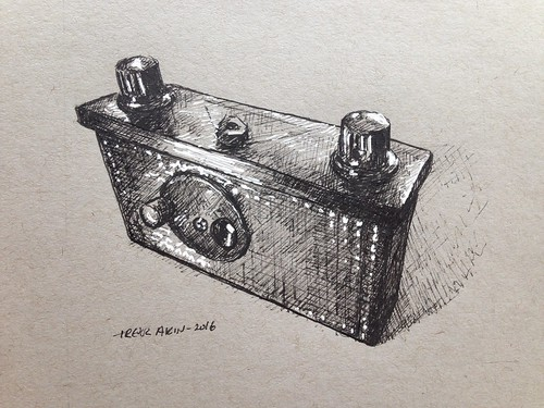 terraPin Prime pinhole camera in ink and gel pen on toned paper