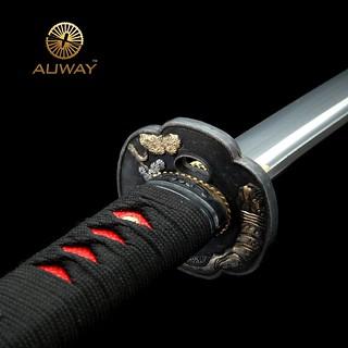 Auway-samurai-sword- Characters-Tsuba-Black-scabbard-4