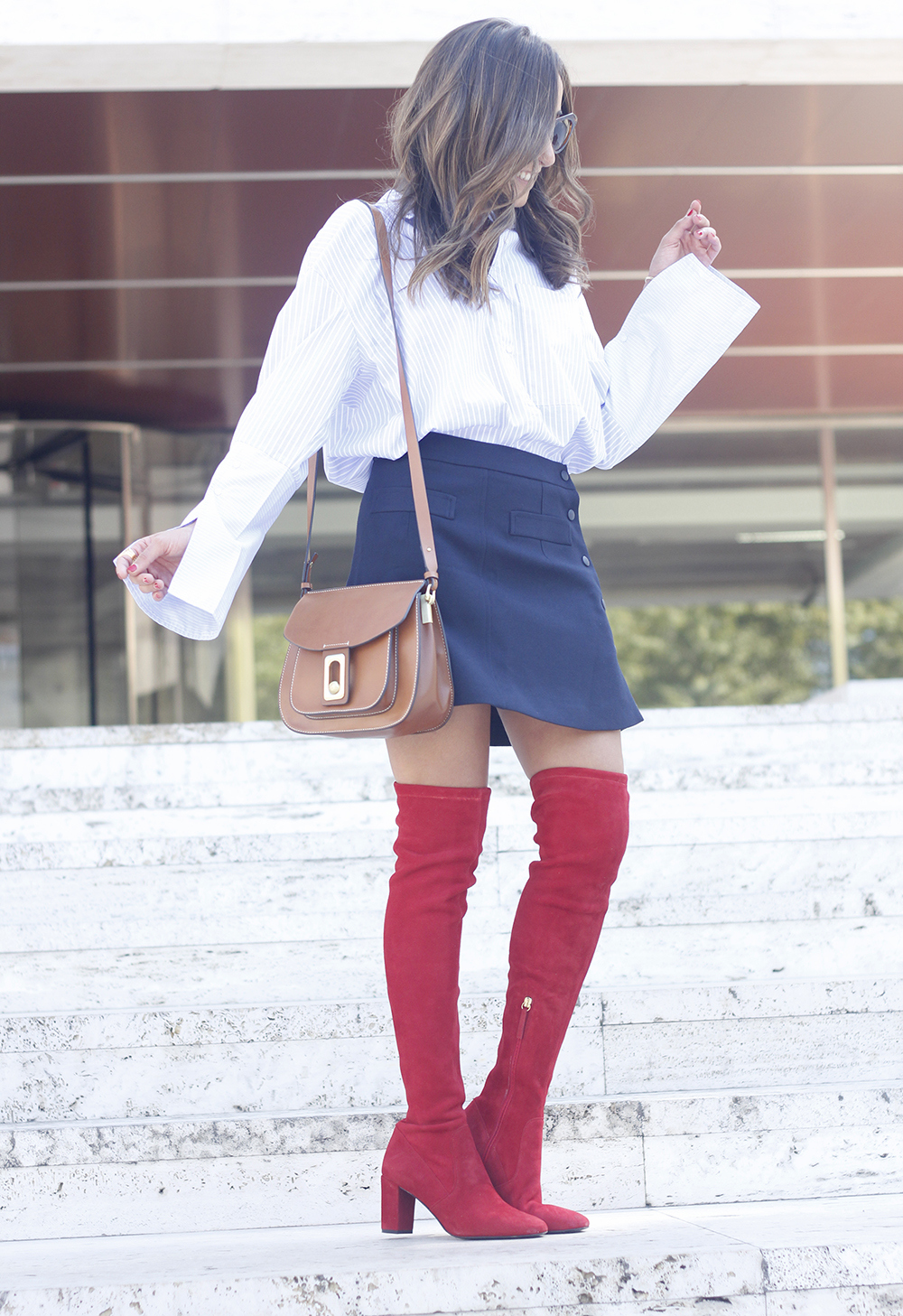 Red over the knee boots blue skirt sunnies accessories outfit style fashion09